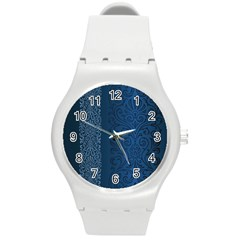 Fabric Blue Batik Round Plastic Sport Watch (M)