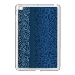 Fabric Blue Batik Apple iPad Mini Case (White)