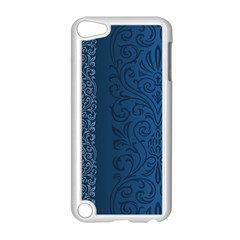 Fabric Blue Batik Apple iPod Touch 5 Case (White)