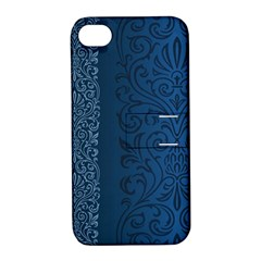 Fabric Blue Batik Apple iPhone 4/4S Hardshell Case with Stand