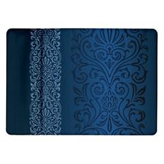 Fabric Blue Batik Samsung Galaxy Tab 10.1  P7500 Flip Case