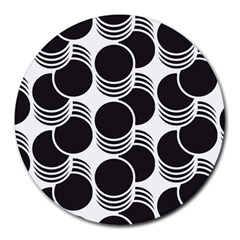 Floral Geometric Circle Black White Hole Round Mousepads