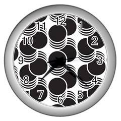 Floral Geometric Circle Black White Hole Wall Clocks (Silver)