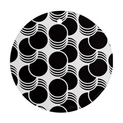 Floral Geometric Circle Black White Hole Round Ornament (Two Sides)