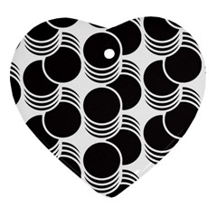 Floral Geometric Circle Black White Hole Heart Ornament (Two Sides)