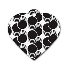 Floral Geometric Circle Black White Hole Dog Tag Heart (Two Sides)