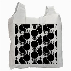 Floral Geometric Circle Black White Hole Recycle Bag (One Side)