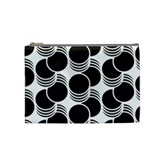 Floral Geometric Circle Black White Hole Cosmetic Bag (Medium)