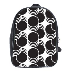 Floral Geometric Circle Black White Hole School Bags(Large)