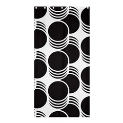 Floral Geometric Circle Black White Hole Shower Curtain 36  x 72  (Stall)