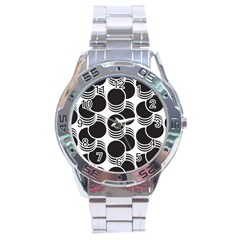 Floral Geometric Circle Black White Hole Stainless Steel Analogue Watch
