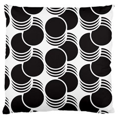 Floral Geometric Circle Black White Hole Large Cushion Case (One Side)