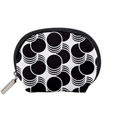 Floral Geometric Circle Black White Hole Accessory Pouches (Small)