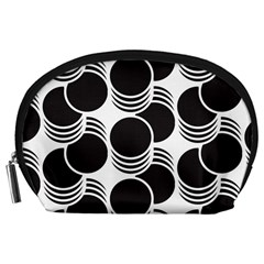 Floral Geometric Circle Black White Hole Accessory Pouches (Large)