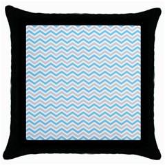 Free Plushie Wave Chevron Blue Grey Gray Throw Pillow Case (black)