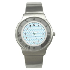 Free Plushie Wave Chevron Blue Grey Gray Stainless Steel Watch