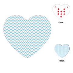 Free Plushie Wave Chevron Blue Grey Gray Playing Cards (Heart)