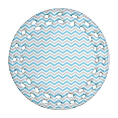Free Plushie Wave Chevron Blue Grey Gray Round Filigree Ornament (Two Sides)