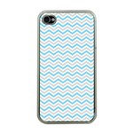 Free Plushie Wave Chevron Blue Grey Gray Apple iPhone 4 Case (Clear) Front