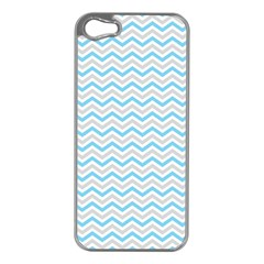 Free Plushie Wave Chevron Blue Grey Gray Apple iPhone 5 Case (Silver)