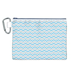 Free Plushie Wave Chevron Blue Grey Gray Canvas Cosmetic Bag (L)