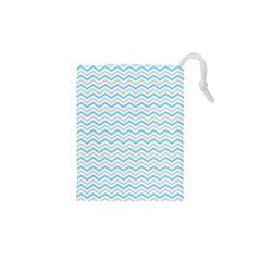 Free Plushie Wave Chevron Blue Grey Gray Drawstring Pouches (XS)