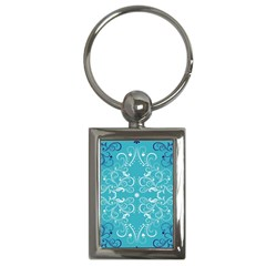 Flower Leaf Floral Love Heart Sunflower Rose Blue White Key Chains (Rectangle)