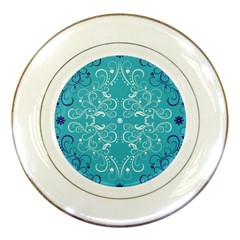 Flower Leaf Floral Love Heart Sunflower Rose Blue White Porcelain Plates