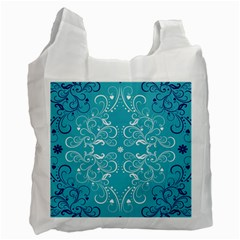 Flower Leaf Floral Love Heart Sunflower Rose Blue White Recycle Bag (Two Side)