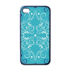 Flower Leaf Floral Love Heart Sunflower Rose Blue White Apple iPhone 4 Case (Black)