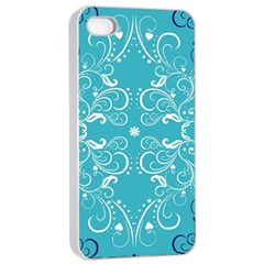 Flower Leaf Floral Love Heart Sunflower Rose Blue White Apple iPhone 4/4s Seamless Case (White)