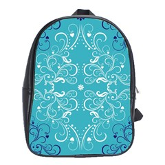 Flower Leaf Floral Love Heart Sunflower Rose Blue White School Bags (XL)