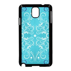 Flower Leaf Floral Love Heart Sunflower Rose Blue White Samsung Galaxy Note 3 Neo Hardshell Case (Black)