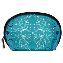 Flower Leaf Floral Love Heart Sunflower Rose Blue White Accessory Pouches (Large)