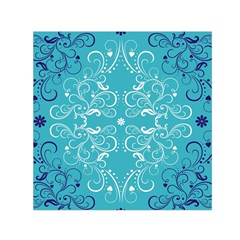 Flower Leaf Floral Love Heart Sunflower Rose Blue White Small Satin Scarf (square)