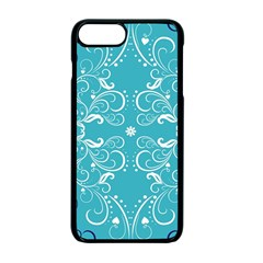 Flower Leaf Floral Love Heart Sunflower Rose Blue White Apple Iphone 7 Plus Seamless Case (black)