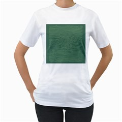 Illustration Green Grains Line Women s T-Shirt (White) (Two Sided)