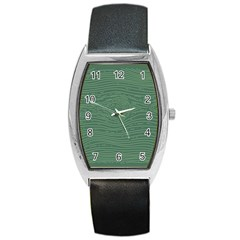 Illustration Green Grains Line Barrel Style Metal Watch