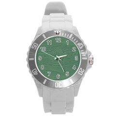 Illustration Green Grains Line Round Plastic Sport Watch (L)