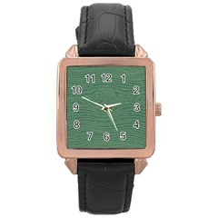 Illustration Green Grains Line Rose Gold Leather Watch