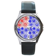 Flower Floral Smile Face Red Blue Sunflower Round Metal Watch
