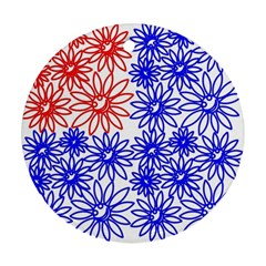 Flower Floral Smile Face Red Blue Sunflower Ornament (Round)