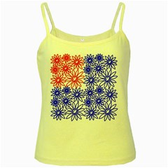 Flower Floral Smile Face Red Blue Sunflower Yellow Spaghetti Tank