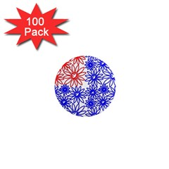 Flower Floral Smile Face Red Blue Sunflower 1  Mini Magnets (100 pack)