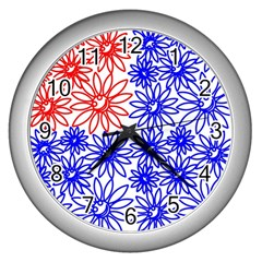 Flower Floral Smile Face Red Blue Sunflower Wall Clocks (silver)