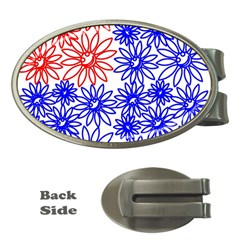 Flower Floral Smile Face Red Blue Sunflower Money Clips (oval)