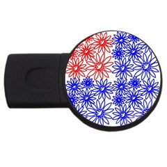 Flower Floral Smile Face Red Blue Sunflower USB Flash Drive Round (2 GB)