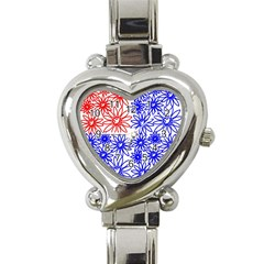 Flower Floral Smile Face Red Blue Sunflower Heart Italian Charm Watch