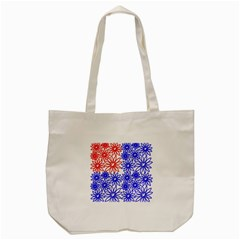 Flower Floral Smile Face Red Blue Sunflower Tote Bag (cream)
