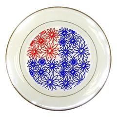 Flower Floral Smile Face Red Blue Sunflower Porcelain Plates
